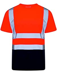 dd2e050f HuntaDeal Hi Viz VIS High Visibility T-Shirt Crew Neck Reflective Tape Safety  Security Work Short Sleeve Tee Polo…