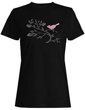 Pájaro-En-Un-Árbol Arte camiseta de las mujeres o175f