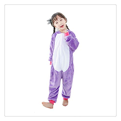 Pajamas Kids Animal Flannel Anime Cartoon Costumes Sleepwear Cosplay Onesie Panda Christmas Purple Tenma XL ()