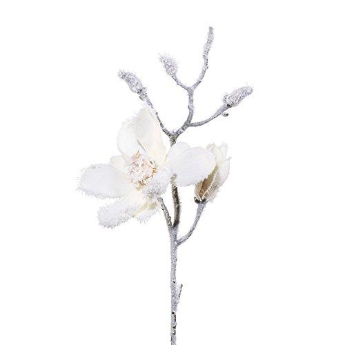 Kunstblume MAGNOLIE 41 cm. Mit SCHNEE. Beschneite Magnolien.