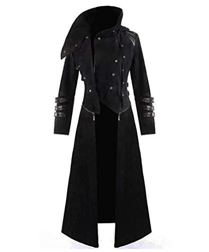 Qian Qian Herren Steampunk viktorianischen Mantel Vintage mittelalterlichen Ritter Smoking Jacke Gothic Frack Jacke Karneval Vampir Kostüm (XL, Schwarz)