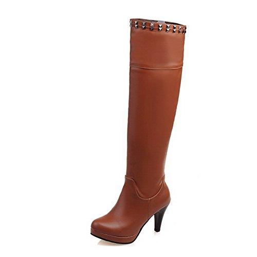 AgooLar Damen Mattglasbirne Rund Zehe Überknie Hohe Stiefel Hoher Absatz Stiefel, Cremefarben, 37
