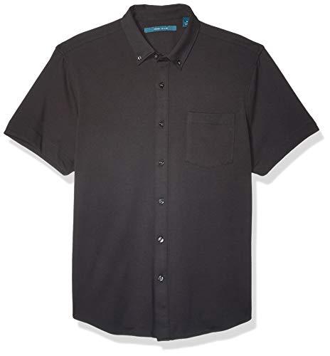 Perry Ellis Herren Solid Knit Oxford Short Sleeve Shirt Hemd, Black 201, XX Large - Solid Knit Short