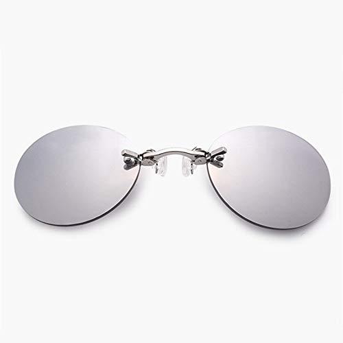 Preisvergleich Produktbild FSJCB Gafas De Sol Clip On Nose Sonnenbrille Männer Matrix Morpheus Randlose Sonnenbrille Runde Brille Uv400