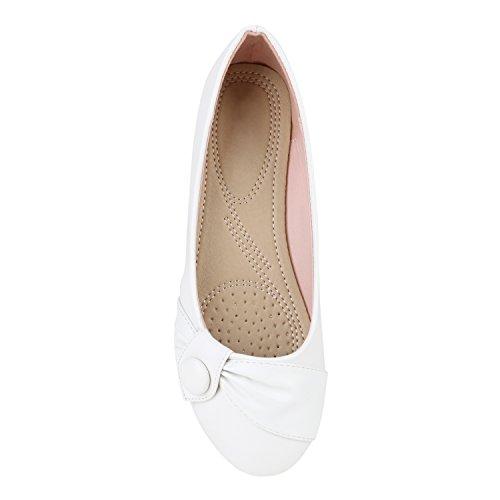 Klassische Damen Ballerinas Lederoptik Flats Freizeit Schuhe Übergrößen Weiss Knopf