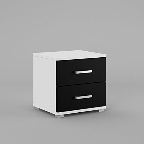 neli-n2-table-de-chevet-table-de-nuit-2-tiroirs-le-corps-blanc-mat-le-front-noir-haute-brillance