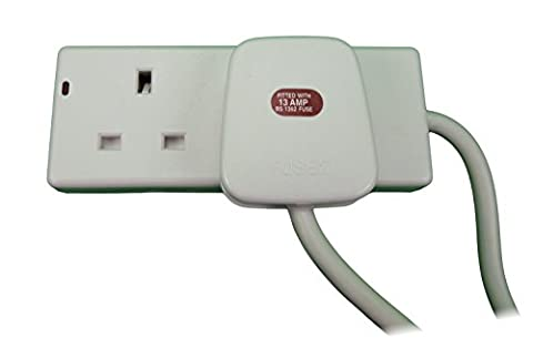 2 Socket Gang UK Mains 240v Electrical Extension 5m Cable Lead Power Electric Socket 13a Plug Way by RED/GREY