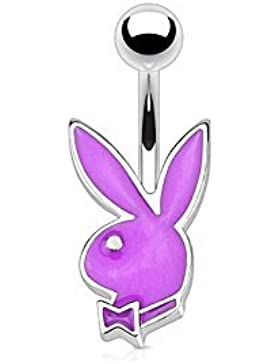 Paula & Fritz® Bauchnabelpiercing aus Edelstahl Chirurgenstahl 316L Kleiner Payboy Bunny lila, blau, schwarz,...