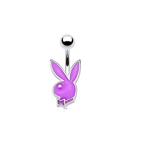Paula & Fritz Bauchnabelpiercing aus Edelstahl Chirurgenstahl 316L Kleiner Payboy Bunny lila (Playboy Bunny Kostüm)