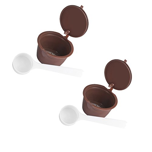 Capsule riutilizzabili di caffè capsule dolce gusto per nescafe genio piccolo esperta circolo (contengono cucchiai da caffè) (capsules 2)