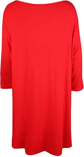 WearAll - Übergröße Damen Eule Glitzerdruck 4.3 Sleeve Scoop Dip Hem Top - 3 Farben - Übergröße Größen 42-56 Rot