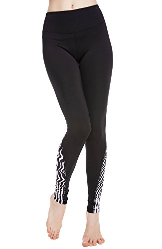 Kleidung Workout Kostüm 80er - icyzone Damen Jogginghose Sport Yoga Hose Lang - Training Tights Gym Sport Leggings (Zebra-Stripe, S)