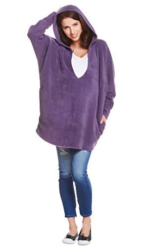 Be! Mama 3in1 - Trageponcho/Umstandspulli & Lockere Jacke/Pulli für Nicht-Schwangere in Einem Lila