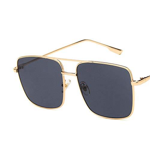 YUHANGH Plus Size Herren Quadrat Sonnenbrille Frauen Mode Berühmte Metall Gold Rosa Sonnenbrille Eyewear Gafas De Sol (Herren Gold Brille Versace)