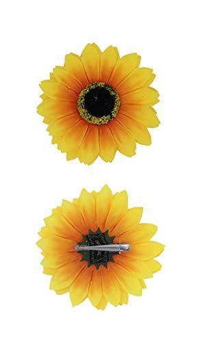 Faschingskönig Sonnenblumen Haarclip Haarschmuck Kopfschmuck 70er Jahre Flower Power Hippie Outfit Zubehör (Sonne-kostüme Für Erwachsene)