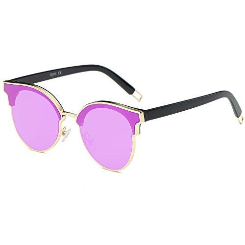 SojoS Schick Klassische Retro Metallbrücken Runde Verspiegelt Sonnenbrille für Damen und Herren SJ1055 mit Gold Rahmen/Lila Linse