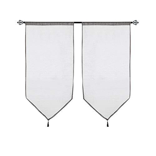 Deconovo tende finestre soggiorno tendine in poliestere con frangia 60x120 cm grigio 2 pannelli