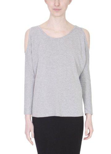 Damen Lang Flügelärmel Damen Stretch Rund U-ausschnitt Schulter  Ausgeschnitten Offen Baggy T-Shirt