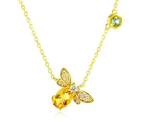 925 Sterling Silver Necklace Natural Yellow Crystal Olivine Necklace Small Bee Pendant