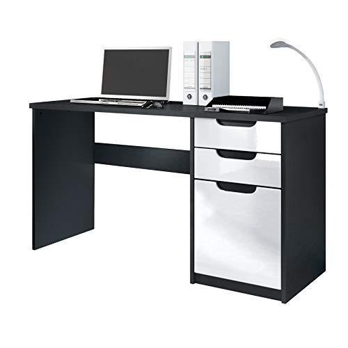 Vladon Schreibtisch Computertisch Büromöbel Logan, Korpus in Schwarz matt/Fronten in Weiß...