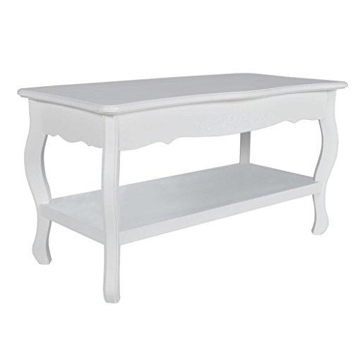 vidaXL Table de salon / Table basse blanche laquée bois MDF