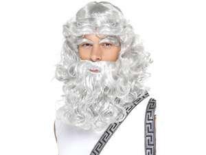 Karneval Zubehör Perücke Zeus grau Bart Augenbrauen Griechen (Kostüm Griechischer Gott Zeus)