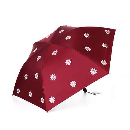 FUWUX Frische kleine Daisy Licht Bleistift Falten Regenschirm Sonnenschutz UV Schutz Tasche schwarz Kunststoff Regenschirm (Color : Red) -