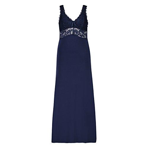 Hunkemöller Damen Langes Slipdress, Modal Lace Blau L138096