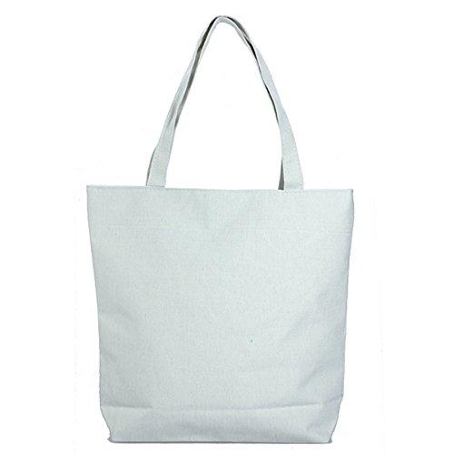 GSPStyle Damen Canvas Schultertasche Baumwollmischung Tragbar Shopper Weiß