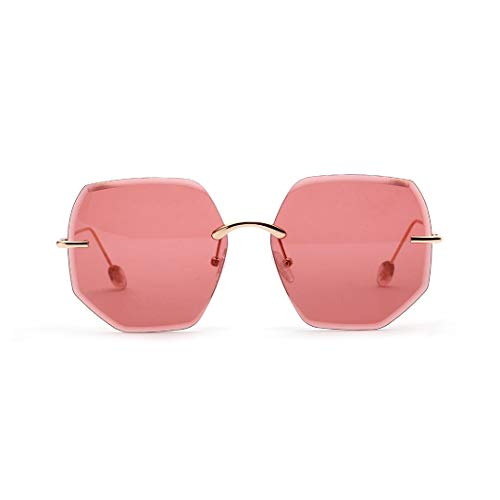 WULE-RYP Polarisierte Sonnenbrille mit UV-Schutz Polygonale randlose Brille Mode Klassische Sonnenbrille für Männer, Frauen. Superleichtes Rahmen-Fischen, das Golf fährt (Farbe : Vintage red)