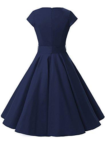 Dressystar Robe à 'Audrey Hepburn' Classique Vintage 50's 60's Style à mancheron Marine