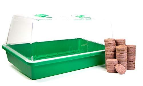 mgc24® Zimmergewächshaus Greenhouse - Anzuchtschale mit Deckel und Belüftung - Komplettset mit 50 Quelltabs