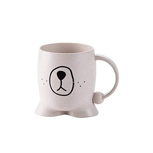 DYTJ-Mugs Zahnputzbecher Kaffee Tee Weizenstroh Halter Bad Milch Baby Kinder Waschen Heimgebrauch Niedlichen Cartoon Umweltfreundliche Zahnputzbecher Für Wasser, Beige, Vereinigte Staaten -
