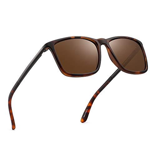 JIM HALO Polarisiert Fahren Sonnenbrille Retro Platz UV Schutz Klassisch Sonne Brille Herren(Schildkröte/Polarisiertes Braun)