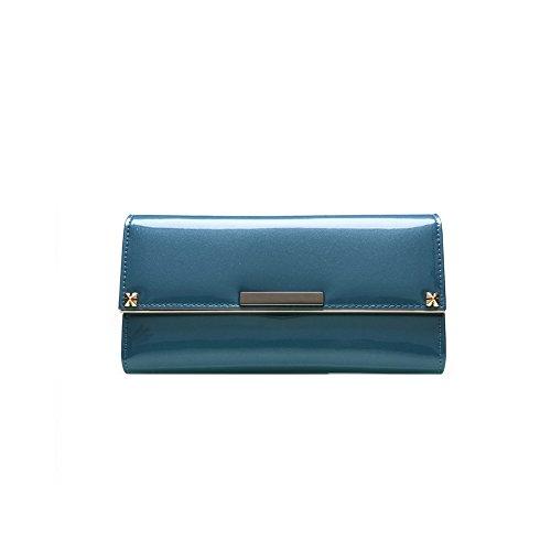 PU Piega Lunga Pelle moda donna Portafoglio borsa Ecopelle Wallet raccoglitore Pocket Portamonete Blu