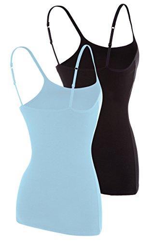 Attraco Damen 2er Pack BH Hemd Träger Top Baumwolle Ultra Soft Schwarz Blau