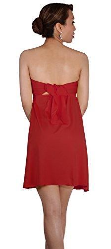 SODACODA Robe de dames belle plage aéré de loisirs d'été aux couleurs rafraîchissantes - taille unique (32-40) Rouge