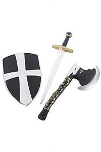 3 Piece Crusader Set, with Shield, Sword (accesorio de disfraz)