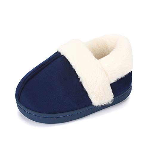 LACOFIA Kids Boys Girls Winter Slippers Children Memory Foam Slipper Warm Fleece Anti-Slip Home Shoes