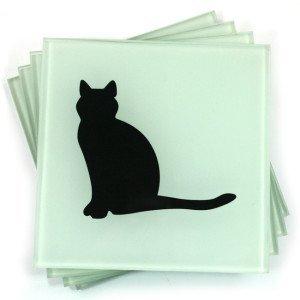 Set von 4schwarz Katze Glas Untersetzer