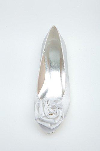Scarpe da donna con tacco delle scarpe Donna Sandalo Flat Shoe Flower White