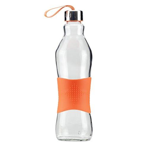 Grip & Go 1.0L Glas Wasserflasche/Kühlschrank Flasche - Rutschfester Silikongriff - Edelstahldeckel - ORANGE