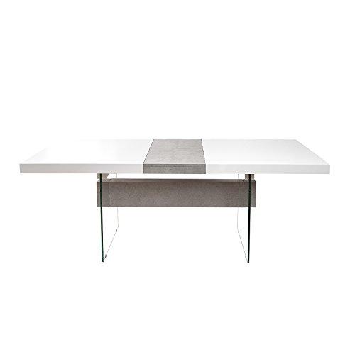 Design Esstisch ONYX 160-200 cm ausziehbar edelmatt weiß Beton-Optik Tisch Esszimmertisch...