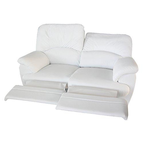 Divano 2 posti relax 2 recliner motorizzati elettrici totali in ecopelle morbida modello luca - bianco pu