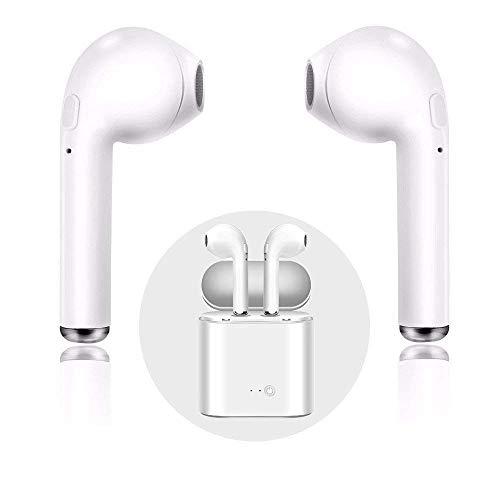 NAACK Auricolari Bluetooth Wireless i7S| Box di Ricarica Portatile | Auricolari Sportivi, Perfetti per Corsa, Bici e Palestra | Bluetooth 4.1 CSR,