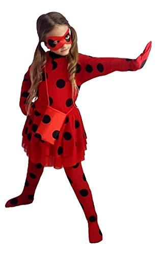 Kleid Monelli Ladybug Mädchen Kleid Lady Bug Miraculous Marienkäfer Verkleidung Fasching Modell 2019 mit Rock Farbe Rot 8-10 anni Altezza spalla a Terra 100 - 110 cm ()