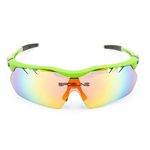 Olprkgdg Reiten Brille im Freien Mountainbike Augenschutz Sport-Sonnenbrille für Frauen Männer (Color : Green)