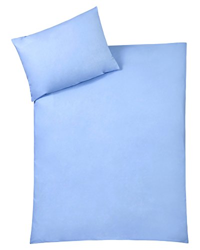 Julius Zöllner 85000 40317 - Bettwäsche Uni, Größe: 80x80 cm / 35x40 cm, uni blau