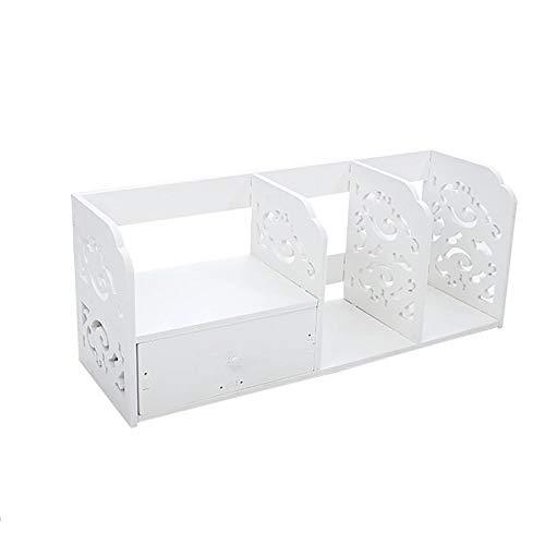 YGXR Bücherregal Kinder Weiß, Kratzfest Desktop erweiterbar Organizer Stand Bücherregal Display Lagerung mit 1 Schubladen für Schreibtisch Innendekoration (60 * 24 * 20cm) -