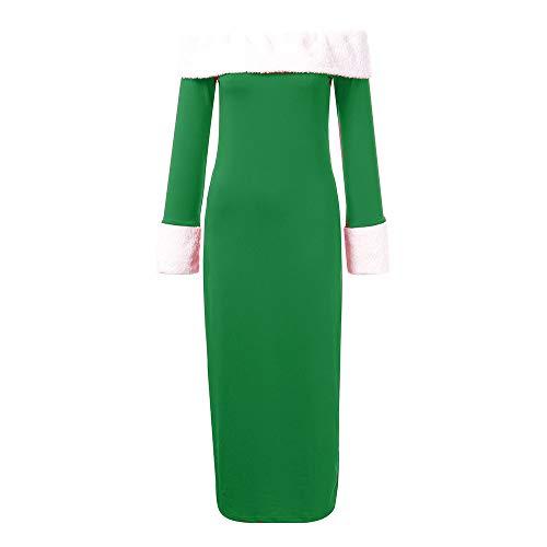 (KPILP Kleid Frauen Weihnachten Schulterfrei Warm Temperamentvoll Langarm Solide Elegant Slim Fit Party Strandkleid(Grün,EU-46/CN-XL)